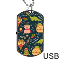 Colorful Funny Christmas Pattern Merry Christmas Xmas Dog Tag Usb Flash (one Side)