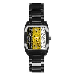 Black Golden Christmas Pattern Collection Stainless Steel Barrel Watch