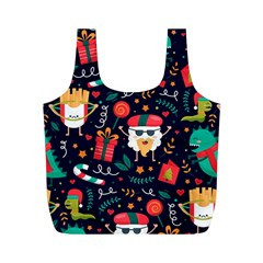 Colorful Funny Christmas Pattern Cute Cartoon Full Print Recycle Bag (m)