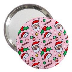 Colorful Funny Christmas Pattern Santa Claus 3  Handbag Mirrors by Vaneshart