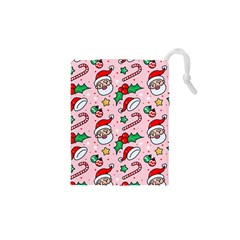 Colorful Funny Christmas Pattern Santa Claus Drawstring Pouch (xs) by Vaneshart