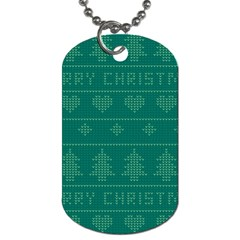 Beautiful Knitted Christmas Pattern Green Dog Tag (one Side)