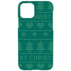 Beautiful Knitted Christmas Pattern Green Iphone 11 Pro Black Uv Print Case