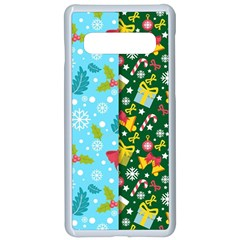 Flat Design Christmas Pattern Collection Samsung Galaxy S10 Seamless Case(white)