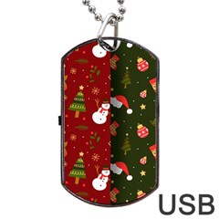 Hand Drawn Christmas Pattern Collection Dog Tag Usb Flash (two Sides)