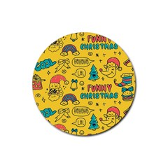 Colorful Funny Christmas Pattern Cool Ho Ho Ho Lol Rubber Round Coaster (4 Pack)
