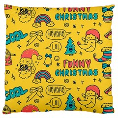 Colorful Funny Christmas Pattern Cool Ho Ho Ho Lol Large Cushion Case (two Sides)