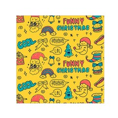 Colorful Funny Christmas Pattern Cool Ho Ho Ho Lol Small Satin Scarf (square)