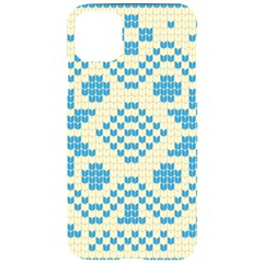 Beautiful Knitted Christmas Pattern Blue White Iphone 11 Pro Max Black Uv Print Case