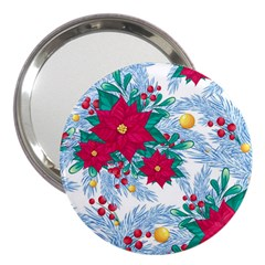 Seamless Winter Pattern With Poinsettia Red Berries Christmas Tree Branches Golden Balls 3  Handbag Mirrors