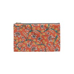 Coral Floral Paisley Cosmetic Bag (small) by mccallacoulture
