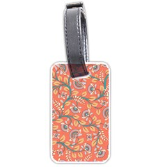 Coral Floral Paisley Luggage Tag (two Sides) by mccallacoulture