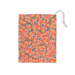Coral Floral Paisley Drawstring Pouch (medium) by mccallacoulture