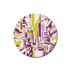City Street Rubber Round Coaster (4 Pack)  by mccallacoulture