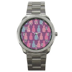 Pineapple Wallpaper Pattern 1462307008mhe Sport Metal Watch