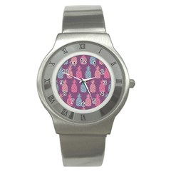 Pineapple Wallpaper Pattern 1462307008mhe Stainless Steel Watch