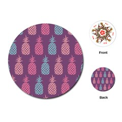Pineapple Wallpaper Pattern 1462307008mhe Playing Cards Single Design (round)