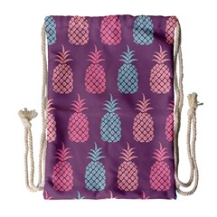 Pineapple Wallpaper Pattern 1462307008mhe Drawstring Bag (large)