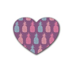 Pineapple Wallpaper Pattern 1462307008mhe Rubber Coaster (heart)