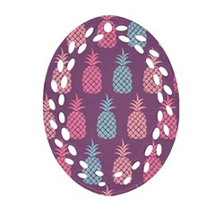 Pineapple Wallpaper Pattern 1462307008mhe Ornament (oval Filigree)