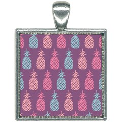 Pineapple Wallpaper Pattern 1462307008mhe Square Necklace