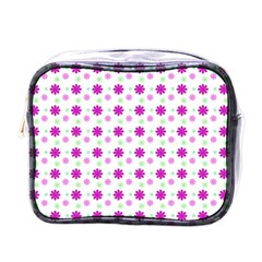 Background Flowers Multicolor Purple Mini Toiletries Bag (one Side) by HermanTelo