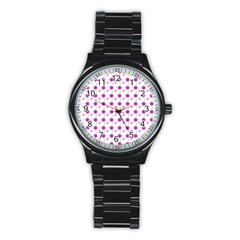 Background Flowers Multicolor Purple Stainless Steel Round Watch by HermanTelo