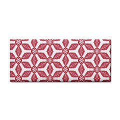 White Red Flowers Texture Hand Towel