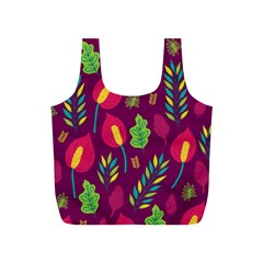 Tropical Flowers On Deep Magenta Full Print Recycle Bag (s) by mccallacoulture