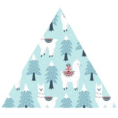 Christmas Tree Cute Lama With Gift Boxes Seamless Pattern Wooden Puzzle Triangle
