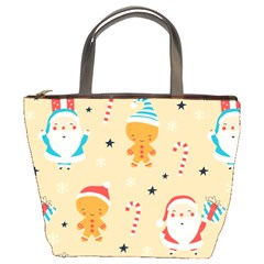 Funny Christmas Pattern Background Bucket Bag