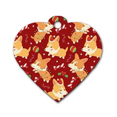 Colorful Funny Christmas Pattern Dog Puppy Dog Tag Heart (two Sides) by Vaneshart