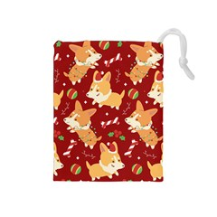 Colorful Funny Christmas Pattern Dog Puppy Drawstring Pouch (medium) by Vaneshart
