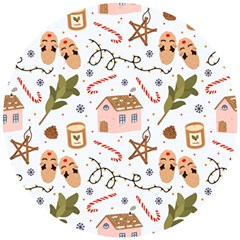 Colorful Seamless Pattern With Traditional Winter Elements Christmas Hygge Style Wooden Puzzle Round