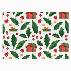 Christmas Seamless Pattern With Holly Red Gift Box Large Glasses Cloth