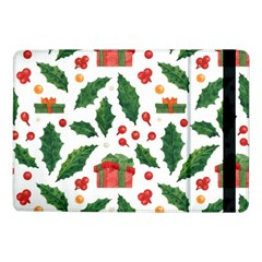 Christmas Seamless Pattern With Holly Red Gift Box Samsung Galaxy Tab Pro 10 1  Flip Case