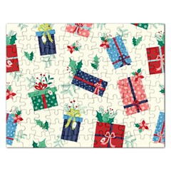 Christmas Gifts Pattern With Flowers Leaves Rectangular Jigsaw Puzzl by Vaneshart
