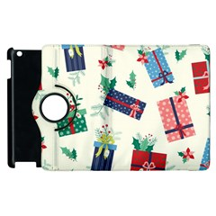 Christmas Gifts Pattern With Flowers Leaves Apple Ipad 2 Flip 360 Case
