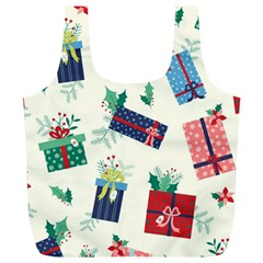 Christmas Gifts Pattern With Flowers Leaves Full Print Recycle Bag (xl)