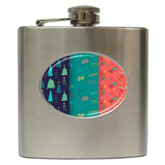 Hand Drawn Christmas Pattern Collection Hip Flask (6 Oz) by Vaneshart