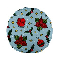 Colorful Funny Christmas Pattern Standard 15  Premium Round Cushions by Vaneshart