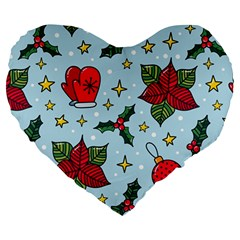 Colorful Funny Christmas Pattern Large 19  Premium Heart Shape Cushions