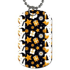 Black Golden Christmas Pattern Collection Dog Tag (one Side)