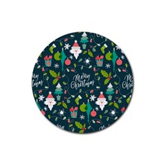 Funny Christmas Pattern Background Rubber Coaster (round)