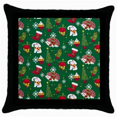 Colorful Funny Christmas Pattern Green Throw Pillow Case (black)