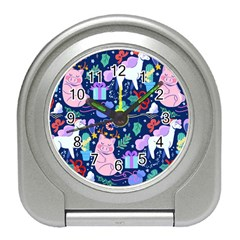 Colorful Funny Christmas Pattern Pig Animal Travel Alarm Clock by Vaneshart
