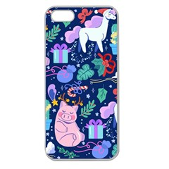 Colorful Funny Christmas Pattern Pig Animal Apple Seamless Iphone 5 Case (clear)