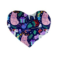 Colorful Funny Christmas Pattern Pig Animal Standard 16  Premium Heart Shape Cushions