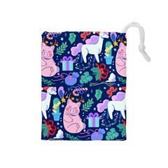 Colorful Funny Christmas Pattern Pig Animal Drawstring Pouch (medium) by Vaneshart