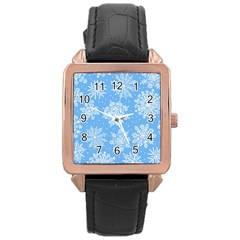 Hand Drawn Snowflakes Seamless Pattern Rose Gold Leather Watch